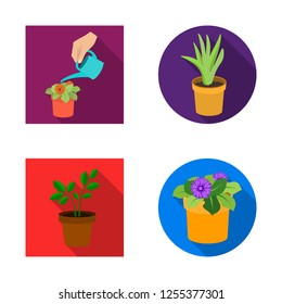 Vector illustration of plant and flower icon. Collection of plant and pot vector icon for stock.