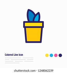 Vector illustration of plant icon colored line. Beautiful entertainment element also can be used as flowerpot icon element.
