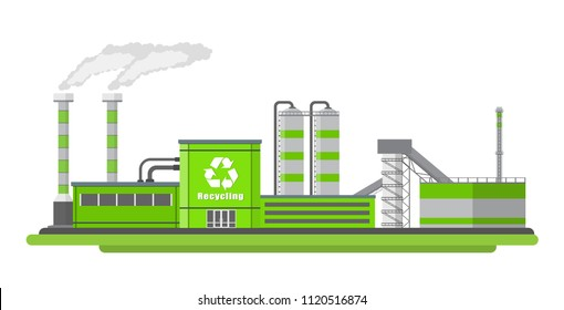 Vector illustration. Plant recycling garbage.