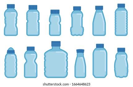 Vector illustration of Vector plastic bottles flat icons