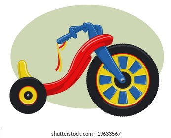 vector illustration of a plastic child's tricycle..