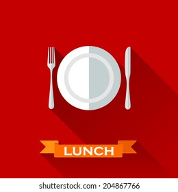 vector illustration with a plate and cutlery in flat design style with long shadows. Lunch time concept