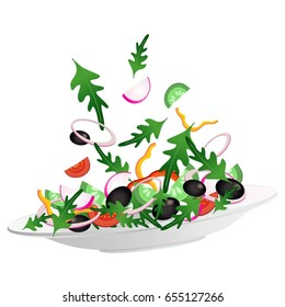 Vector illustration with plate and different vegetables. Salad ingredients: paprika, cucumber, tomato, onion, pepper, olive, rocket, radish.