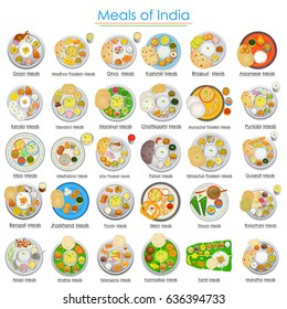 vector illustration of Plate full of delicious Meals of India