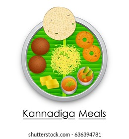 vector illustration of Plate full of delicious Kannadiga Meal from India