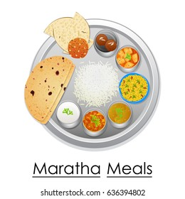 vector illustration of Plate full of delicious  Maratha Meal from India