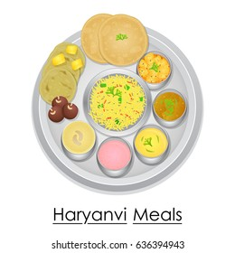 vector illustration of Plate full of delicious Haryanvi Meal from India