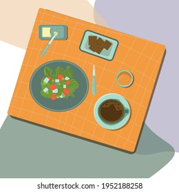 Vector illustration. Plates with greek green salad, tomatos, olives plus cup of coffee and glass of juice