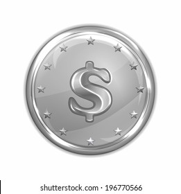 vector illustration of platinum coin
