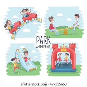 Vector illustration of playground scene, children play on the outdoors.Ride on a roller coaster,  jumping on  inflatable trampoline, seesaw, sliding childrens slide, jumping rope. Park amusements