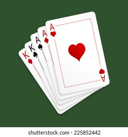 Vector illustration of playing cards - poker hand full house. Three aces and pair of kings. Isolated on green background. EPS 10.