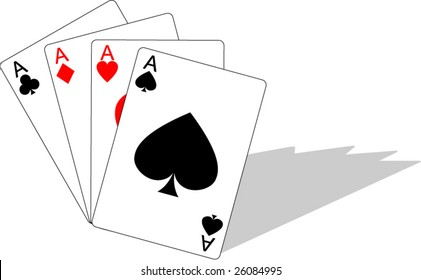 Vector Illustration of playing cards showing winning hand of four aces with drop shadow