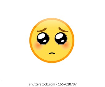 Vector illustration of Pleading Face emoji