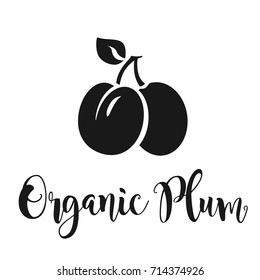 Vector illustration of a plum fruit with leaf. Plum vector icon. Organic plum freehand lettering.