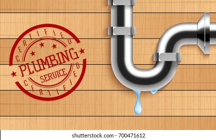 Vector illustration of Plumbing service with water pipe