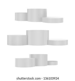 Vector illustration of podium. Different views