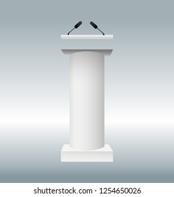 vector illustration of podium tribune with microphones isolated on transparent background. Art design rostrum stands. Abstract concept graphic element for business presentation, conference. Vector