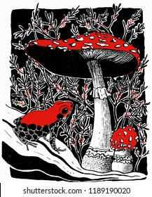 Vector illustration of poisonous frog and  fly agaric mushrooms on the background of poisonous berries in black, white and red colors