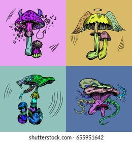Vector illustration with poisonous mushroom characters in engraved style. Fantasy elements and crazy colors.