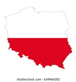 vector illustration of Poland map and flag
