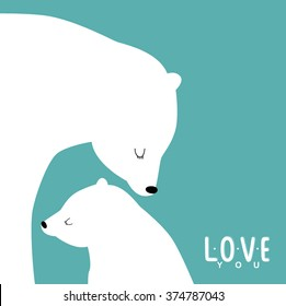 """Vector illustration with polar bears: a mother and child. And the inscription """"I love you."""" can be used as postcards, posters and invitation cards for Valentine's Day, birthday, Mother's Day"""