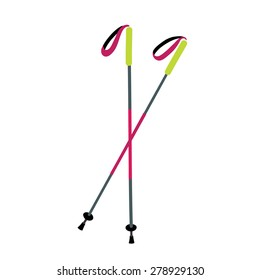 Vector illustration of pole for nordic walking on white isolated background