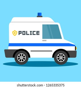 Vector illustration police car. Police auto emergency. Police vehicle evacuation. - Vector