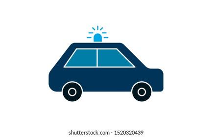 Vector illustration police car. Police auto emergency. Police vehicle evacuation. - Vector