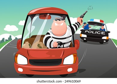 A vector illustration of police chasing criminals in a car on the highway