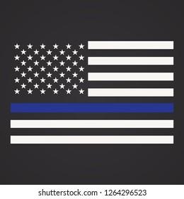 Vector Illustration of Police Department Flag, US Flag, Blue Line