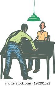 Vector illustration of police interrogation
