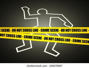 Vector illustration of a police line on crime scene