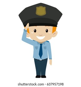 Vector Illustration of Policeman Boy Hand Salute