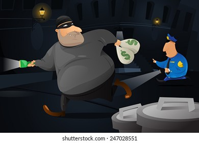 A vector illustration of policeman catching a robber in a dark alley