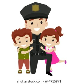 Vector Illustration of Policeman with Kids