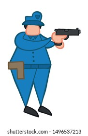 Vector illustration policeman pointing gun. Hand drawn. Colored outlines.