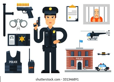 Vector illustration with policeman, police department, police helicopter, police car, prisoner,etc. Flat style. Elements for infographic.