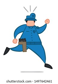 Vector illustration policeman running. Hand drawn. Colored outlines.
