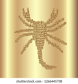 Vector illustration polished metal gold wave curved plate with a incuse scorpion abstract symbol. Background for design, decor, logo, print, poster, furniture and garments decoration, luxury packing.