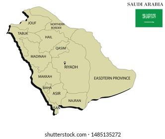 Vector illustration of political map of Saudi Arabia