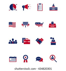 A vector illustration of politics, voting and elections icons set