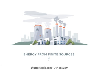 Vector illustration of polluting electric energy from finite sources coal and nuclear. Power plant station buildings with chimneys and dirty smoke on city skyline. Urban landscape on white background.