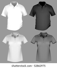 74bec76120 Vector illustration. Polo shirt design template (men and women).