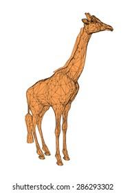 Vector illustration of a polygonal giraffe. Isolated.