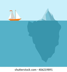 Vector illustration with polygonal iceberg under and above water. Ship in danger on blue background. Business or personal problem theme vector illustration. Could be use as element of business design.