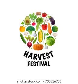 Vector illustration, polygonal vegetables set, Harvest Festival modern poster.