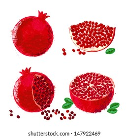 Vector illustration of pomegranate fruits. The drawing imitates dry brush watercolor technique. Set of four images for package design of juice boxes, jelly, jam. One of ancient holy Israeli symbols
