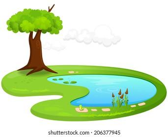 Vector illustration of a pond