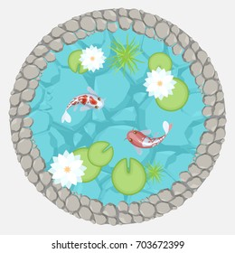 Vector illustration. Pond with carp and lotus flowers. (Top view) Lake with fish and plants. (View from above)