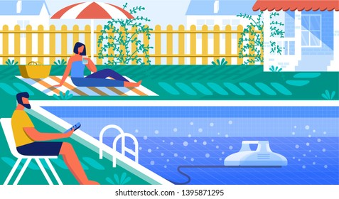 Vector Illustration Pool Cleaner Robot Cartoon. Couple Resting by Pool  Yard. Man Sits on Deckchair and Controls Robot that Cleans Bottom Pool from Dirt. Pool Cleaning and Water Filtration.